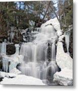 Receding Winter Ice At Ganoga Falls Metal Print