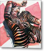 Reclined Striped And Symbolic  Metal Print