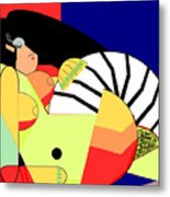 Reclining Nude In Blue And Red Metal Print