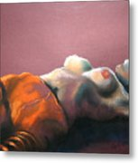 Reclining Nude With Striped Pants Metal Print