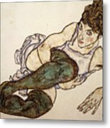 Reclining Woman With Green Stockings Metal Print