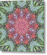 Red Amaryllis Trio Kaleidoscope Metal Print