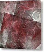 Red And Black Abstract Monoprint Metal Print