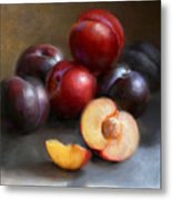 Red And Black Plums Metal Print