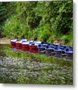 Red And Blue Boats On The River Coquet Metal Print