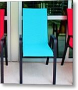 Red And Blue Chairs Metal Print