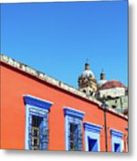 Red And Blue Colonial Architecture Metal Print