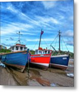 Red And Blue Fishing Boats Tenby Port Metal Print