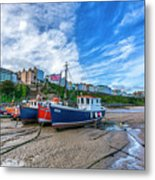 Red And Blue Fishing Trawler In Low Tide Metal Print