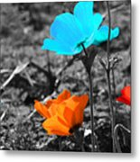 Red And Blue Flowers On Gray Background Metal Print