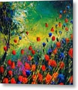 Red And Blue Poppies  Metal Print