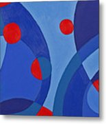 Red And Blue Worlds Metal Print