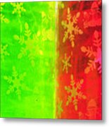 Red And Green With A Snowflake Pattern Metal Print