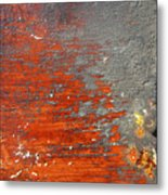 Red And Grey Abstract Metal Print
