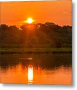 Red And Orange Jungle Sunset Metal Print