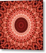 Red And Orange Mandala Metal Print