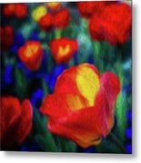 Red And Orange Tulips Metal Print