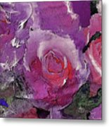 Red And Violet Roses Metal Print