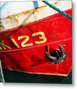 Red And White Boat Detail Metal Print