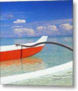Red And White Canoe Metal Print