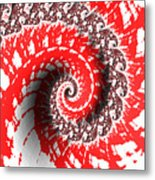 Red And White Fractal Metal Print