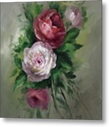 Red And White Roses Metal Print