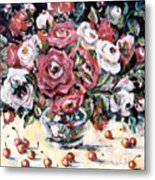 Red And White Roses II Metal Print