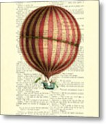Red And White Striped Hot Air Balloon Antique Photo Metal Print