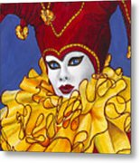 Red And Yellow Carnival Jester Metal Print