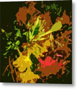 Red And Yellow Flowers Abstract Metal Print