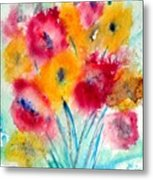 Red And Yellow Flowers Metal Print