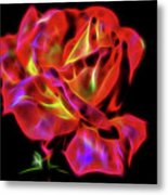 Red And Yellow Rose Fractal Metal Print
