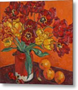 Red And Yellow Tulips And Oranges Metal Print