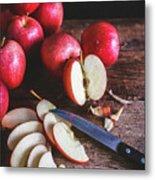 Red Apple Slices Metal Print