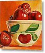 Red Apples In Vintage Watt Yellowware Bowl Metal Print