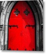 Red Arched Door Metal Print