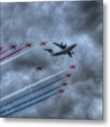 Red Arrows And A400m Airbus Metal Print
