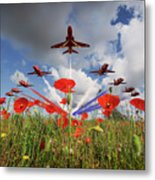 Red Arrows Poppy Fly Past Metal Print