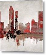 Red Atlanta Georgia Skyline Metal Print
