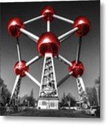 Red Atomium Metal Print