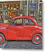Red Morris Minor Metal Print