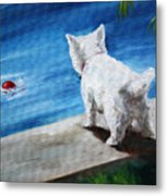Red Ball Metal Print by Mary Sparrow