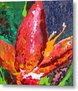Red Banana Bloom Metal Print