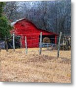 Red Barn A Long The Way Metal Print
