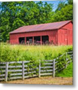 Red Barn Along The Fence Metal Print