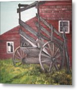 Red Barn And Cattle Ramp Metal Print