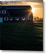 Red Barn At Sunset Metal Print