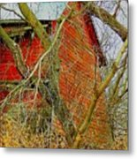 Red Barn Behind The Trees Metal Print