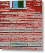Red Barn Broken Window Metal Print