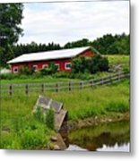 Red Barn By The Lake Metal Print